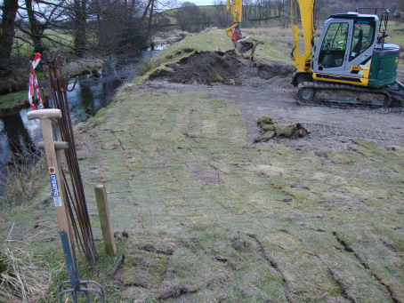 Embankment removal on the River Gowan in 2013. A similar approach will be used in Staveley